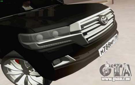 Toyota Land Cruiser 200 2016 pour GTA San Andreas vue intérieure