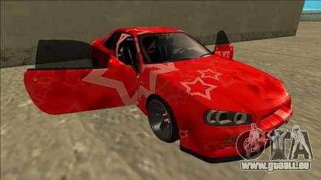Nissan Skyline R34 Drift Red Star für GTA San Andreas Unteransicht