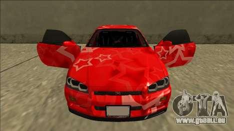 Nissan Skyline R34 Drift Red Star für GTA San Andreas obere Ansicht