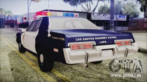 Dodge Monaco 1974 LSPD Highway Patrol Version pour GTA San Andreas laissé vue