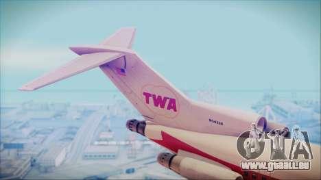 Boeing 727-200 Trans World Airlines für GTA San Andreas zurück linke Ansicht