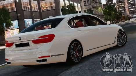BMW 7-er 2016 pour GTA 4 Vue arrière de la gauche