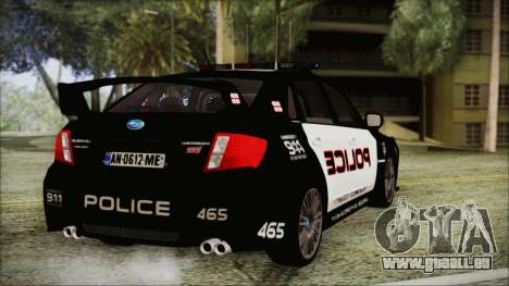 Subaru Impreza Police pour GTA San Andreas laissé vue