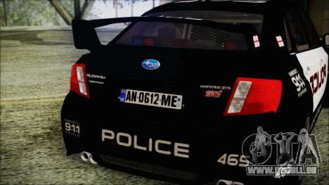 Subaru Impreza Police pour GTA San Andreas vue arrière