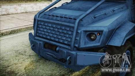 GTA 5 HVY Insurgent Pick-Up IVF pour GTA San Andreas vue intérieure
