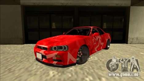 Nissan Skyline R34 Drift Red Star für GTA San Andreas zurück linke Ansicht