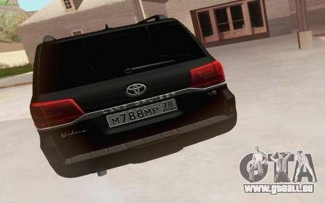Toyota Land Cruiser 200 2016 pour GTA San Andreas sur la vue arrière gauche