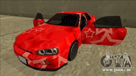 Nissan Skyline R34 Drift Red Star für GTA San Andreas Seitenansicht
