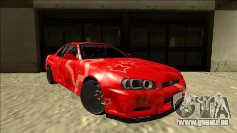 Nissan Skyline R34 Drift Red Star für GTA San Andreas rechten Ansicht