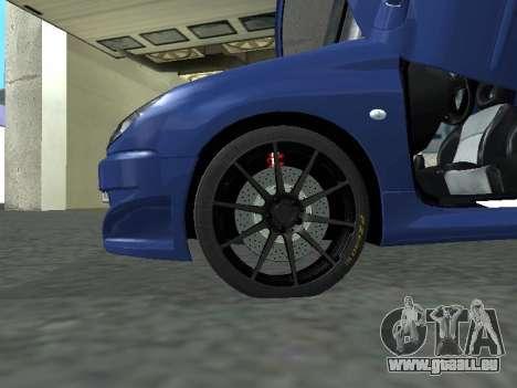 Pegeout 206 PickUP pour GTA San Andreas sur la vue arrière gauche