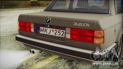BMW 320i E21 1985 LT Plate pour GTA San Andreas vue arrière