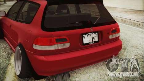 Honda Civic EG6 Hellaflush für GTA San Andreas Rückansicht