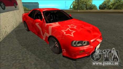 Nissan Skyline R34 Drift Red Star für GTA San Andreas linke Ansicht