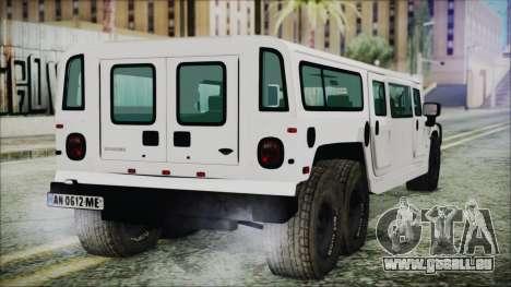 Hummer H1 Limo 6x6 pour GTA San Andreas laissé vue