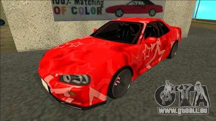 Nissan Skyline R34 Drift Red Star für GTA San Andreas