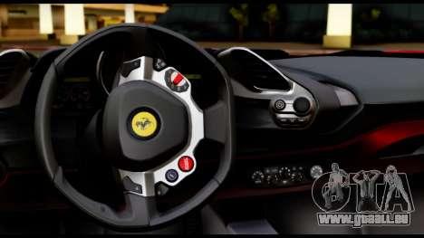 Ferrari 488 GTB 2016 pour GTA San Andreas vue intérieure