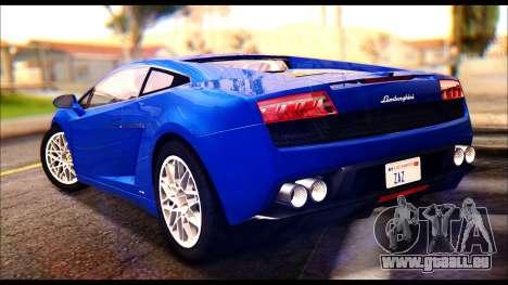 Lamborghini Gallardo LP560 pour GTA San Andreas laissé vue