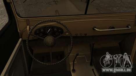 GAZ-69A FIV pour GTA San Andreas sur la vue arrière gauche