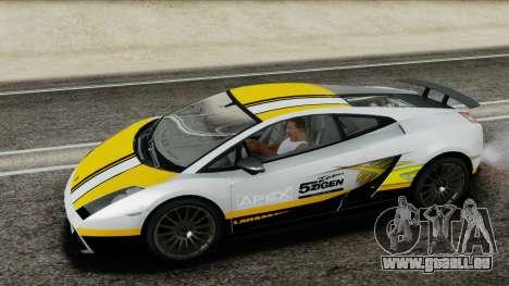 Lamborghini Gallardo Superleggera für GTA San Andreas Unteransicht