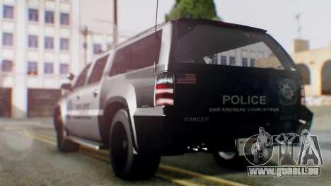 GTA 5 Police Ranger pour GTA San Andreas sur la vue arrière gauche