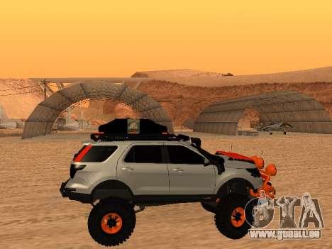 Ford Explorer 2013 Off Road pour GTA San Andreas sur la vue arrière gauche