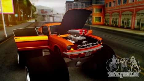 Ford Mustang 1966 Chrome Edition v2 Monster pour GTA San Andreas vue de dessus