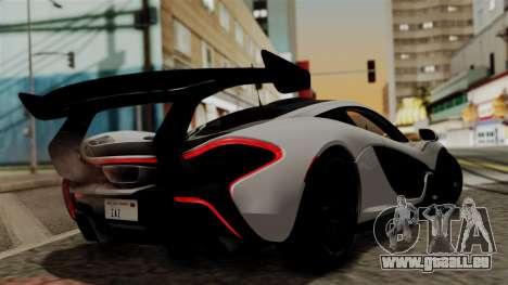 McLaren P1 GTR-VS 2013 pour GTA San Andreas laissé vue