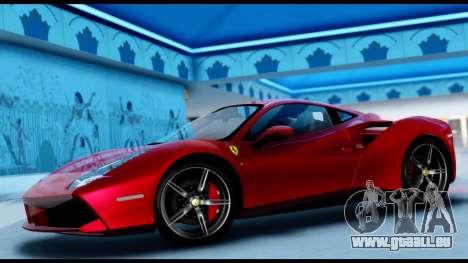 Ferrari 488 GTB 2016 pour GTA San Andreas sur la vue arrière gauche