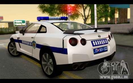 Nissan GT-R Policija pour GTA San Andreas laissé vue