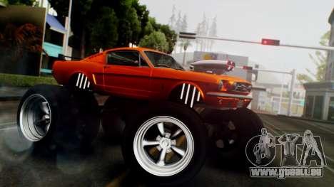 Ford Mustang 1966 Chrome Edition v2 Monster für GTA San Andreas zurück linke Ansicht