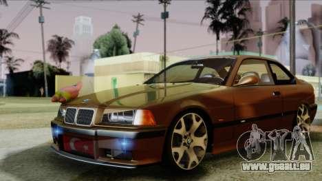 BMW M3 E36 SüvariGaragee pour GTA San Andreas sur la vue arrière gauche