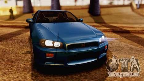 Nissan Skyline GT-R R34 V-spec 1999 pour GTA San Andreas vue de droite