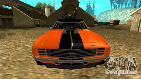 Chevrolet Camaro SS Rusty Rebel für GTA San Andreas Unteransicht