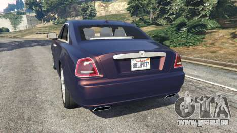 GTA 5 Rolls Royce Ghost 2014 v1.2 arrière vue latérale gauche