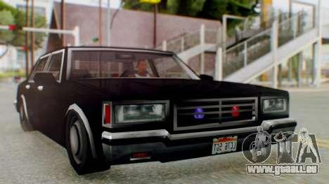 Unmarked Police Cutscene Car Stance für GTA San Andreas zurück linke Ansicht