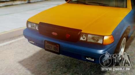 Vapid Taxi with Livery für GTA San Andreas Rückansicht