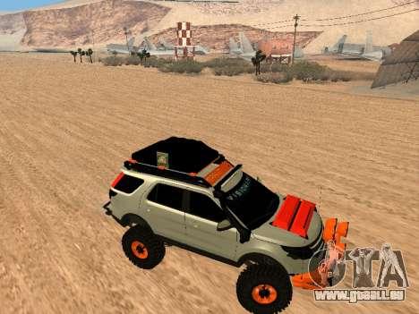 Ford Explorer 2013 Off Road pour GTA San Andreas vue arrière