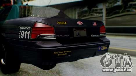 GTA 5 Vapid Stanier II Police IVF pour GTA San Andreas vue intérieure