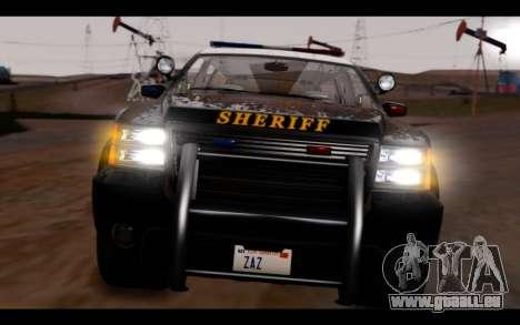 GTA 5 Declasse Sheriff Granger IVF pour GTA San Andreas vue intérieure