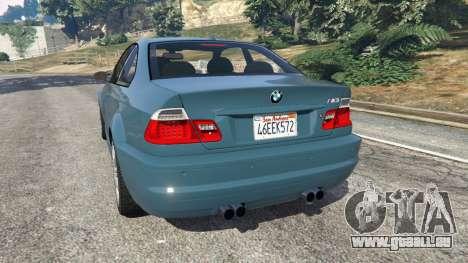 GTA 5 BMW M3 (E46) 2005 arrière vue latérale gauche