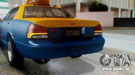 Vapid Taxi with Livery pour GTA San Andreas vue de dessus