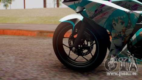 Yamaha R25 2015 EV Mirai Miku Racing 2013 pour GTA San Andreas sur la vue arrière gauche