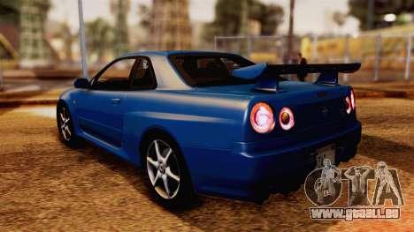 Nissan Skyline GT-R R34 V-spec 1999 pour GTA San Andreas laissé vue