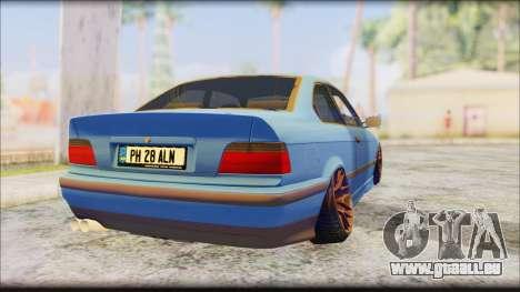 BMW M3 E36 Stanced-Hella pour GTA San Andreas laissé vue