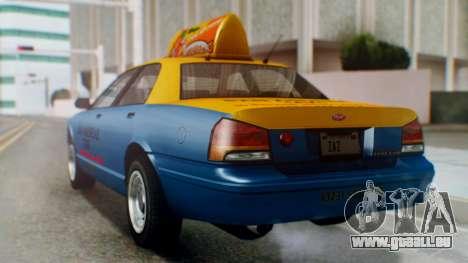 Vapid Taxi with Livery pour GTA San Andreas laissé vue
