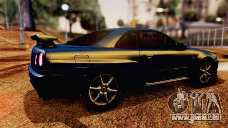 Nissan Skyline GT-R R34 V-spec 1999 für GTA San Andreas zurück linke Ansicht