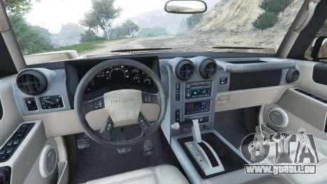 GTA 5 Hummer H2 2005 [tinted] arrière droit vue de côté