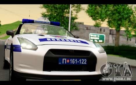 Nissan GT-R Policija für GTA San Andreas zurück linke Ansicht