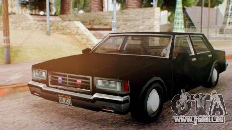 Unmarked Police Cutscene Car Normal für GTA San Andreas zurück linke Ansicht