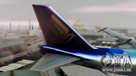 Boeing 747-400 Singapore Airlines Tropical PJ für GTA San Andreas zurück linke Ansicht